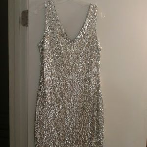 Dresses & Skirts - Silver Sequin mini dress Bachelorette Party